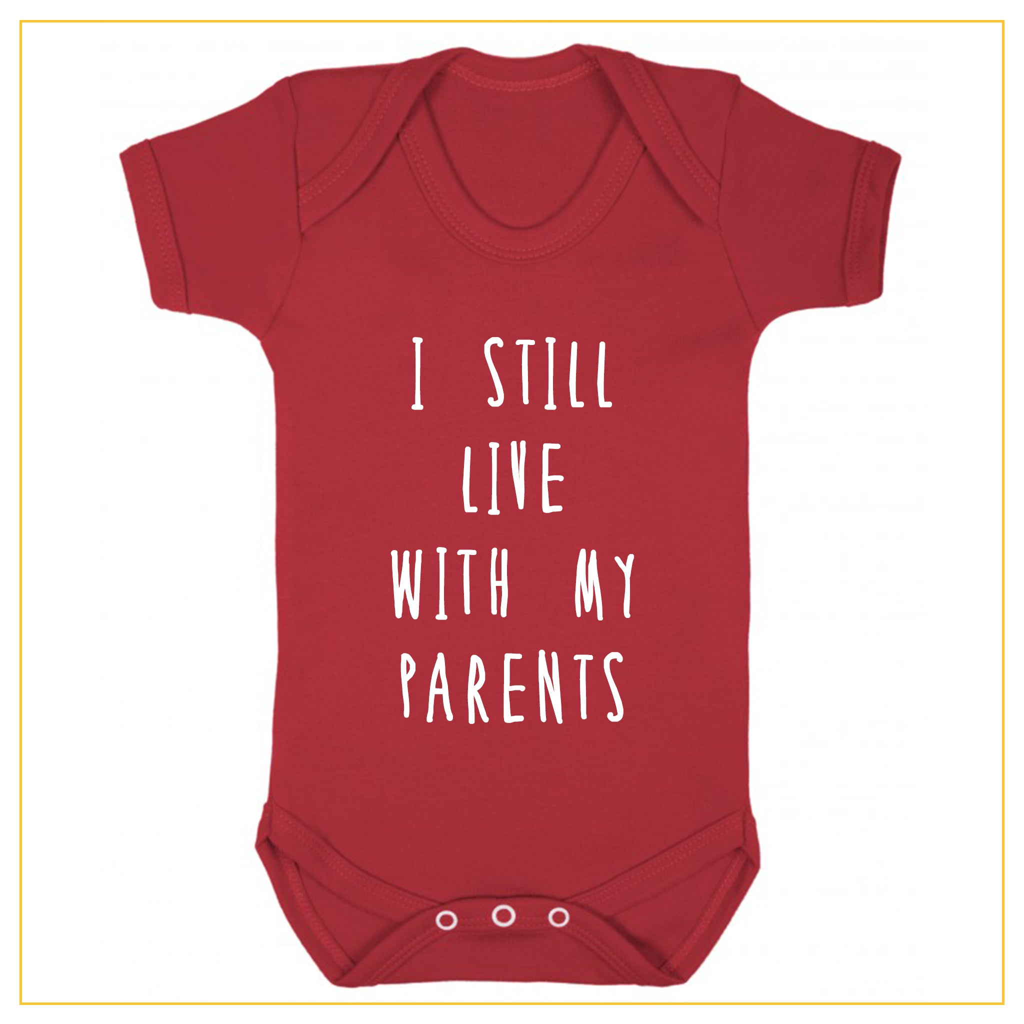 I still live with my parents baby onesie in red
