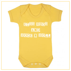 kiss hugs and rock n roll baby onesie in yellow