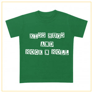 kiss hugs and rock n roll kids t-shirt in green