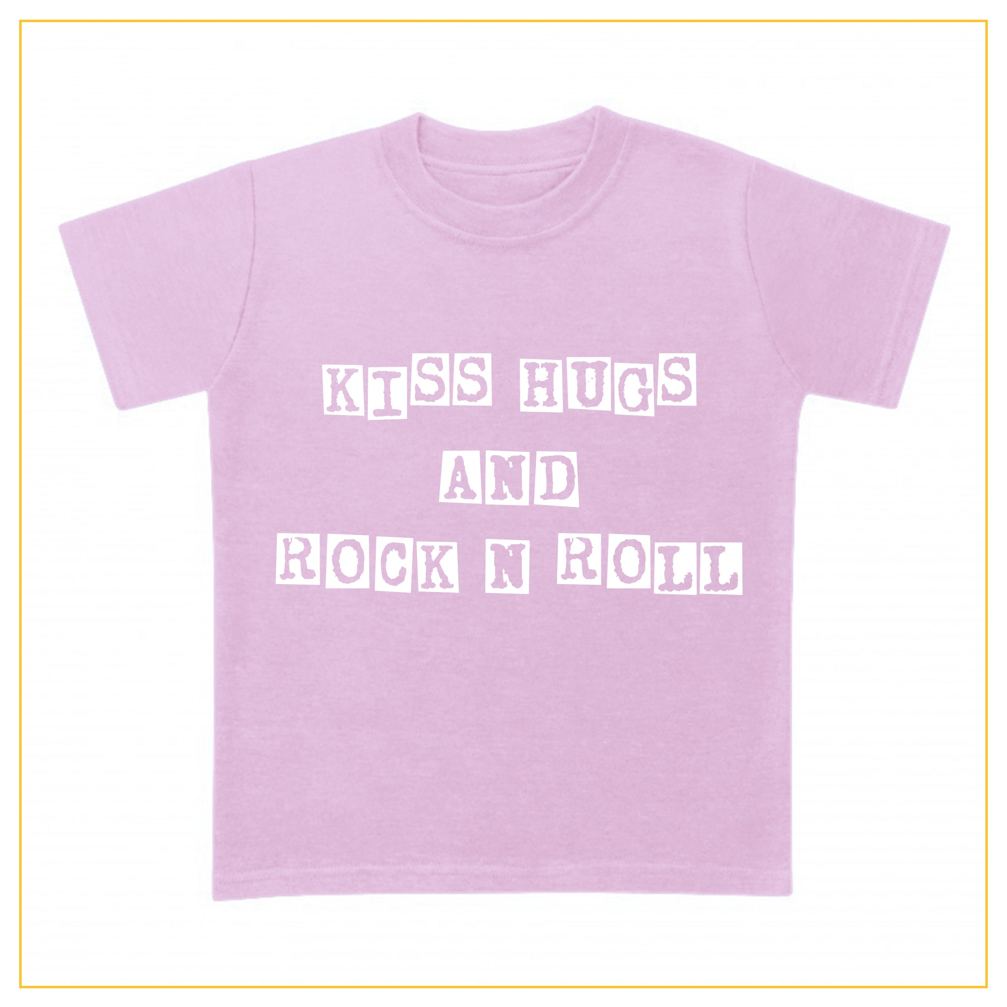 kiss hugs and rock n roll kids t-shirt in pink