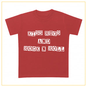 kiss hugs and rock n roll kids t-shirt in red