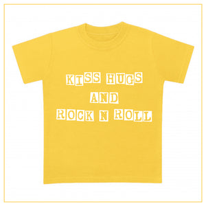 kiss hugs and rock n roll kids t-shirt in yellow