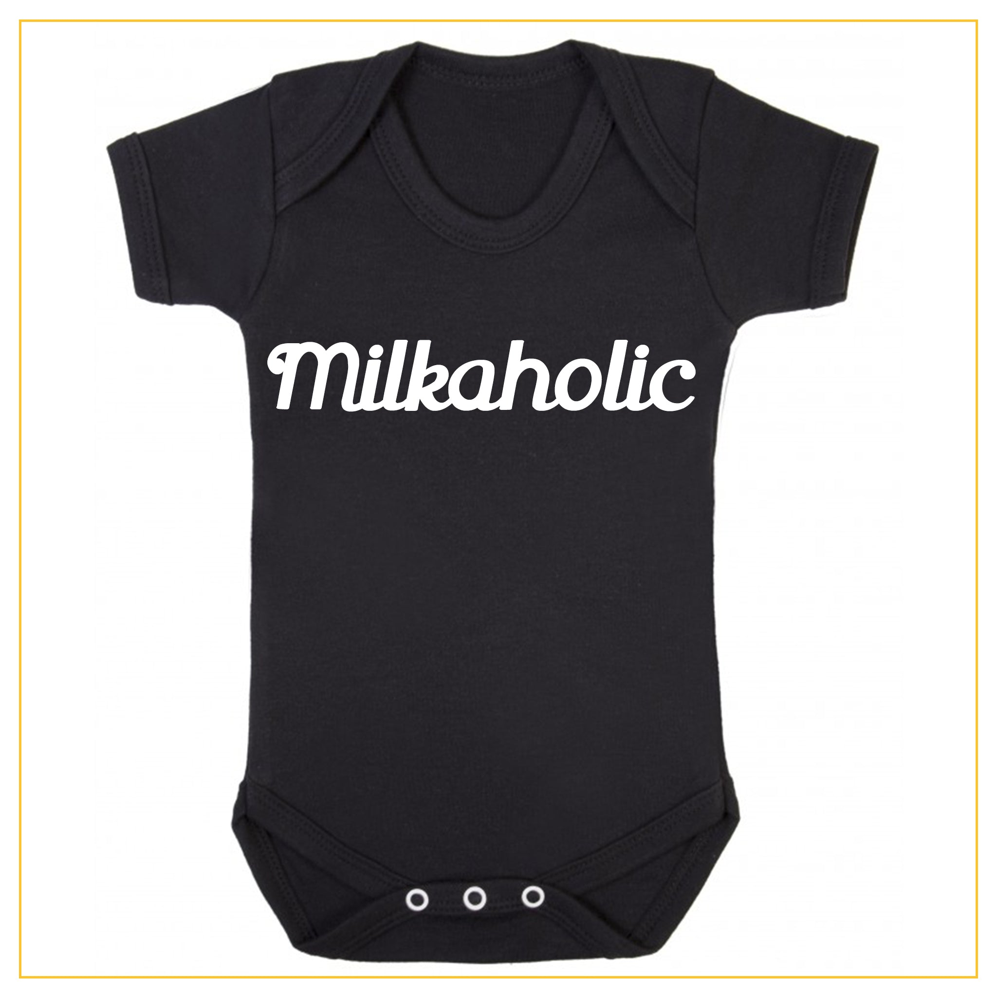 milkaholic novelty baby onesie in black
