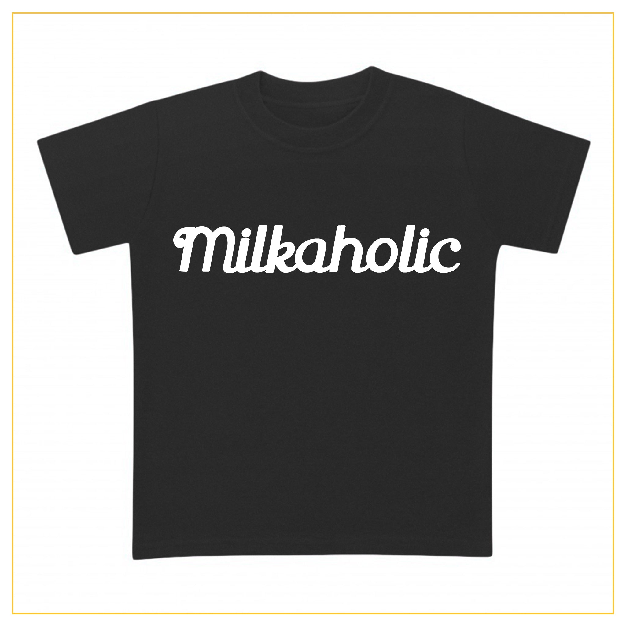 black t-shirt for babies with milkaholic print