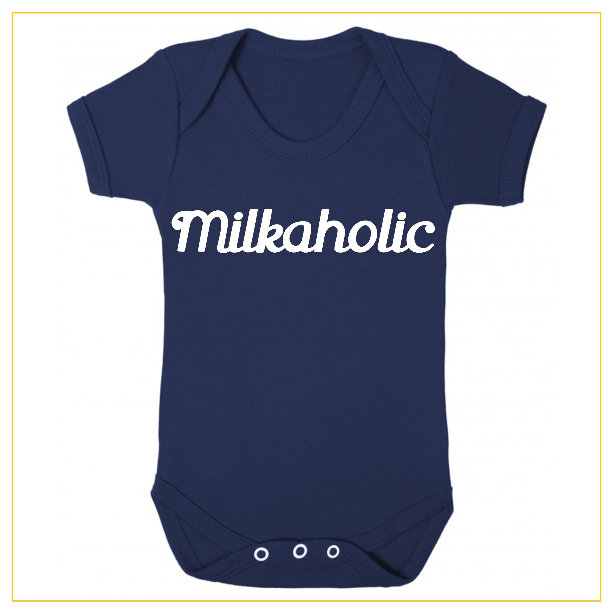 milkaholic novelty baby onesie in navy blue