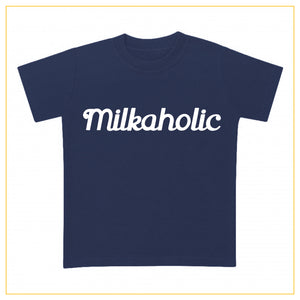 navy blue t-shirt for babies with milkaholic print