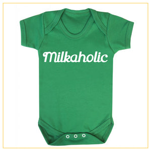milkaholic novelty baby onesie in green