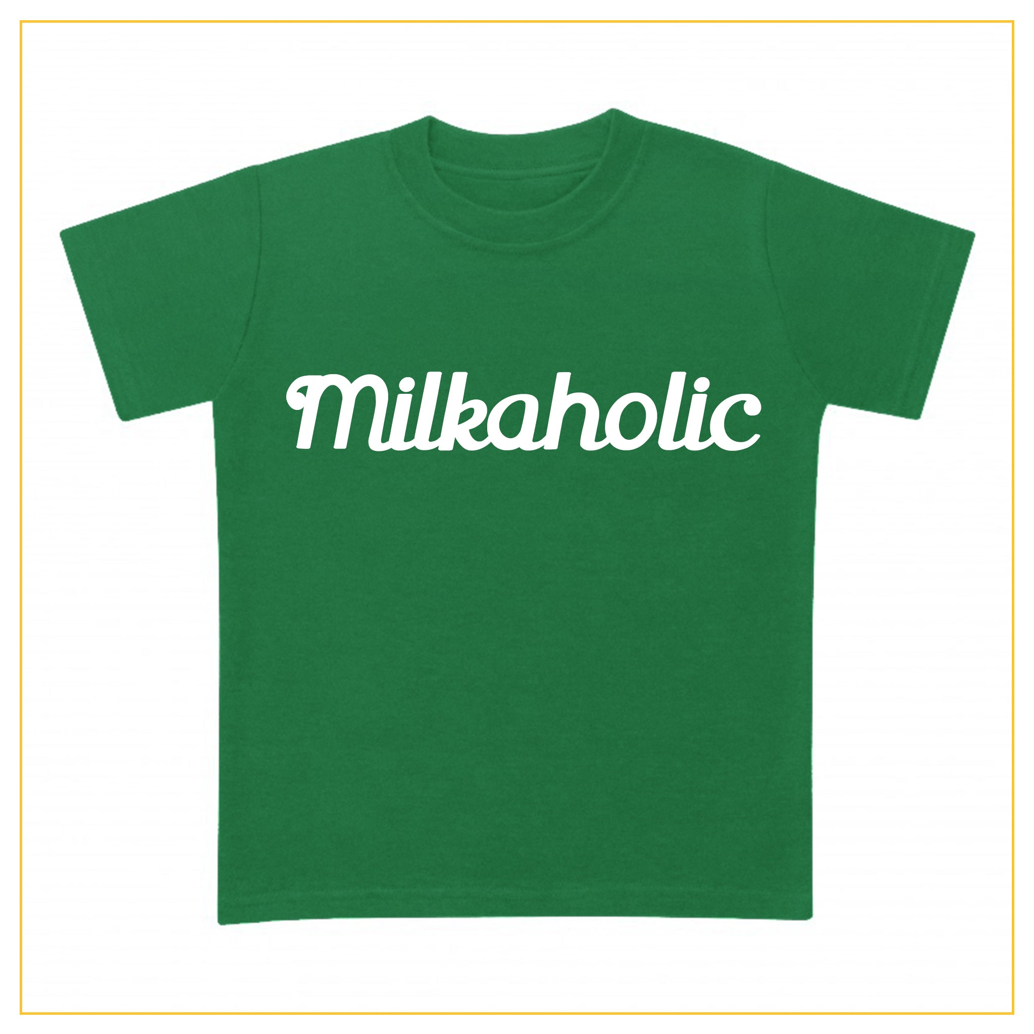 green t-shirt for babies with milkaholic print