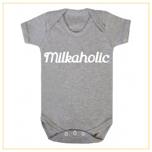 milkaholic novelty baby onesie in grey