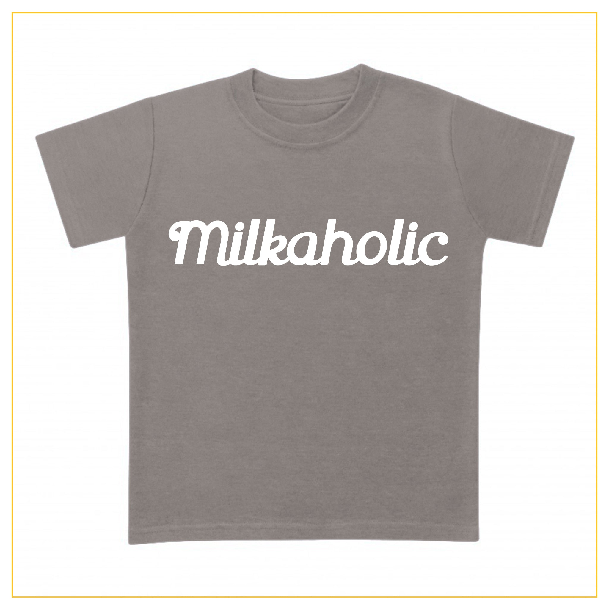 grey t-shirt for babies with milkaholic print