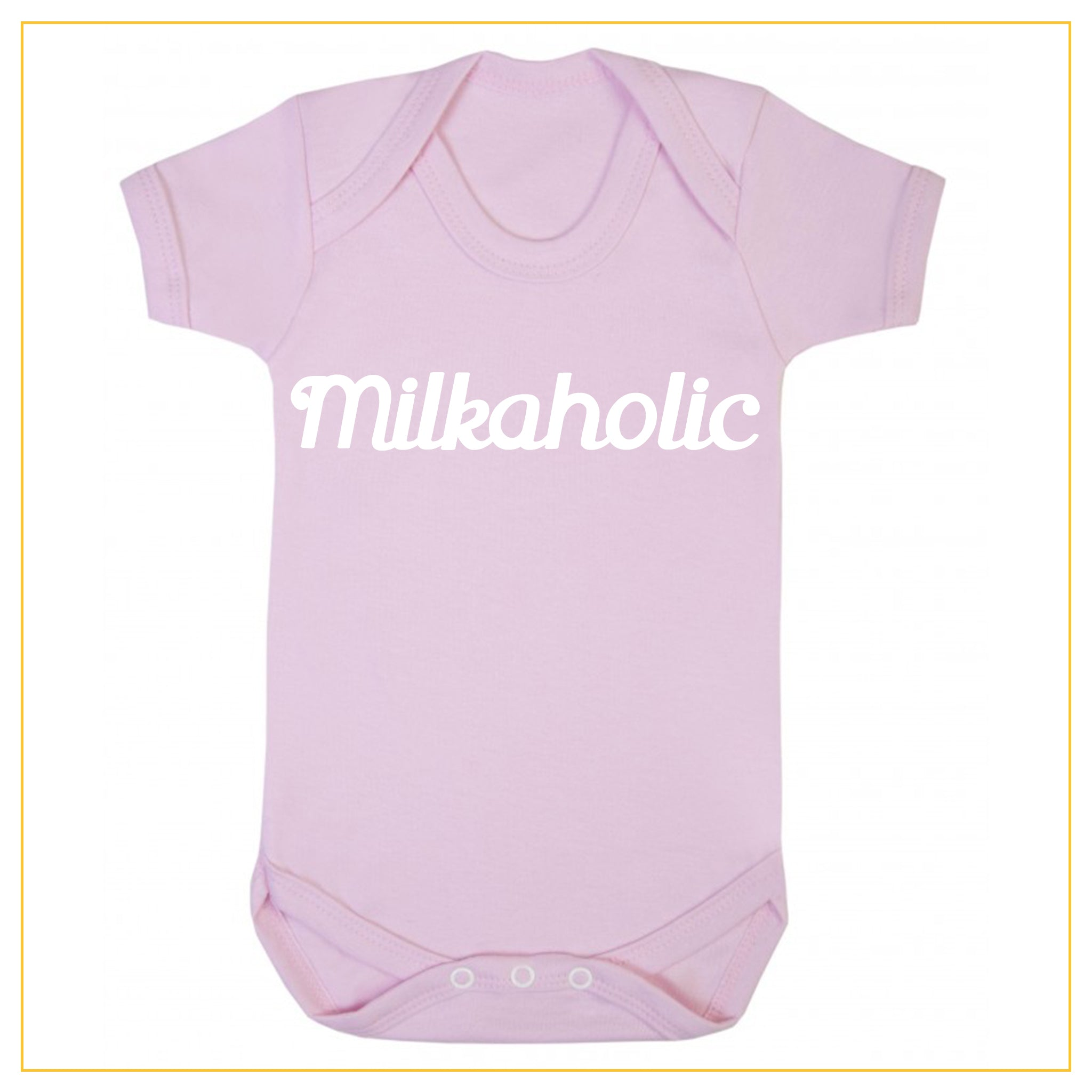 milkaholic novelty baby onesie in dust pink