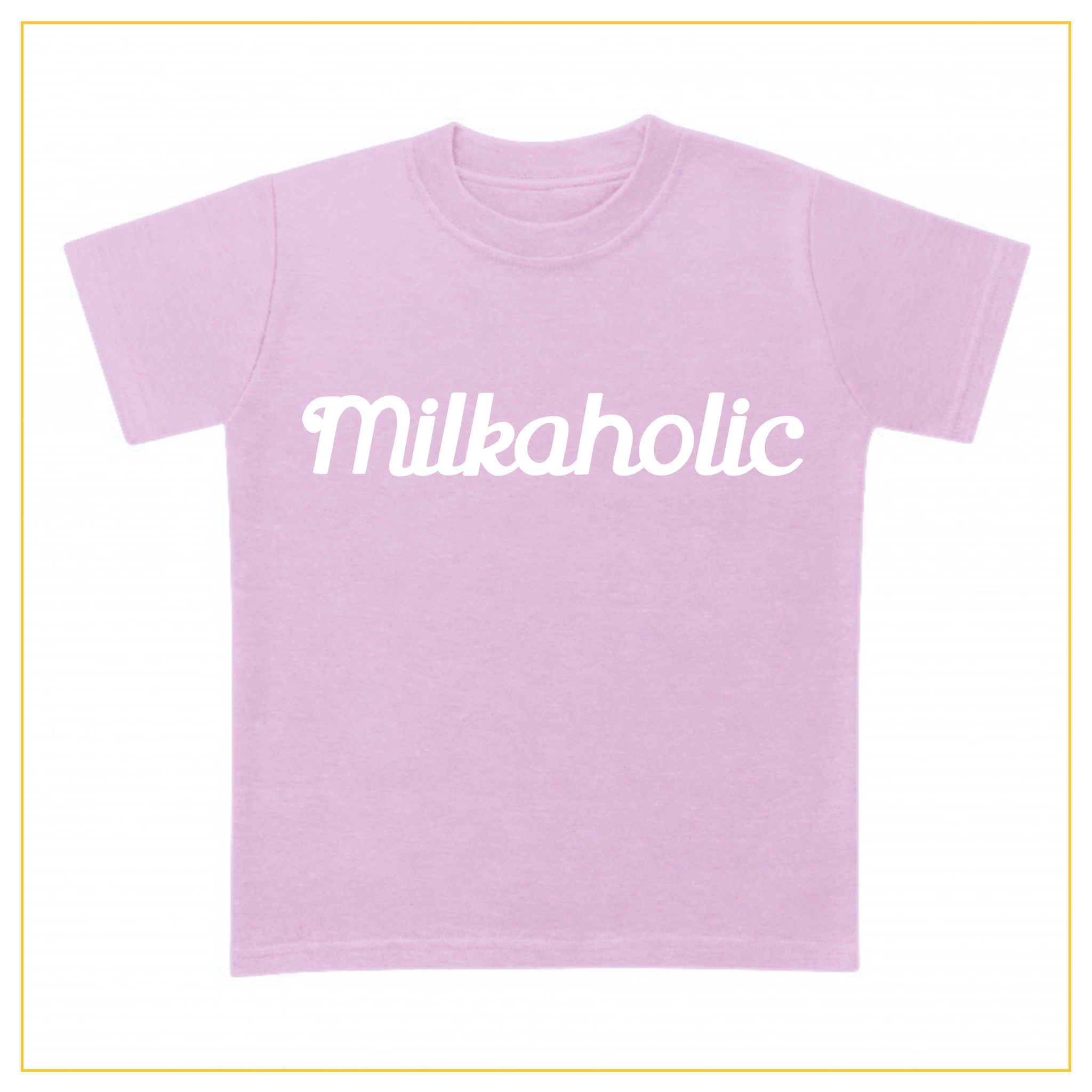 pink t-shirt for babies with milkaholic print