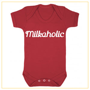 milkaholic novelty baby onesie in red