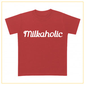 red t-shirt for babies with milkaholic print