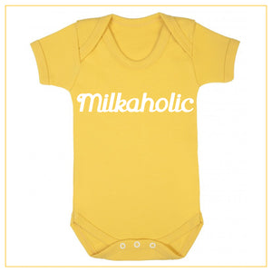 milkaholic novelty baby onesie in yellow