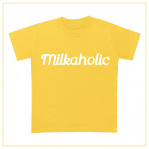yellow t-shirt for babies with milkaholic print