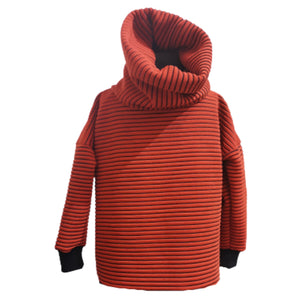 Unisex Kids Cowl Neck Jumper Orange Ribbed | Josiah Amari