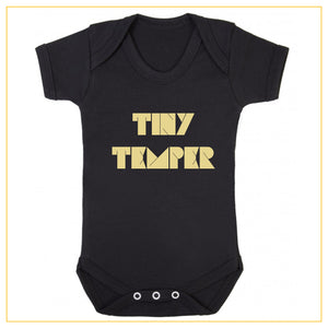 tiny temper baby novelty onesie in black