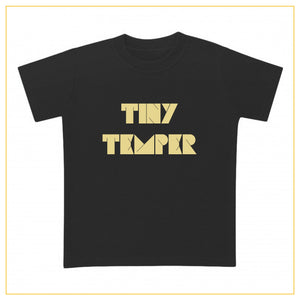 kids black t-shirt with tiny temper print in gold
