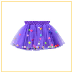 purple tulle tutu with multicoloured pompoms