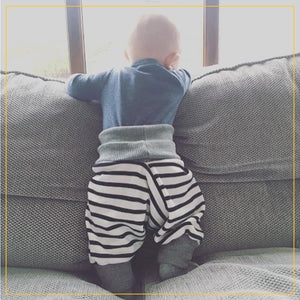 unisex kids harems pants in black and white stripes