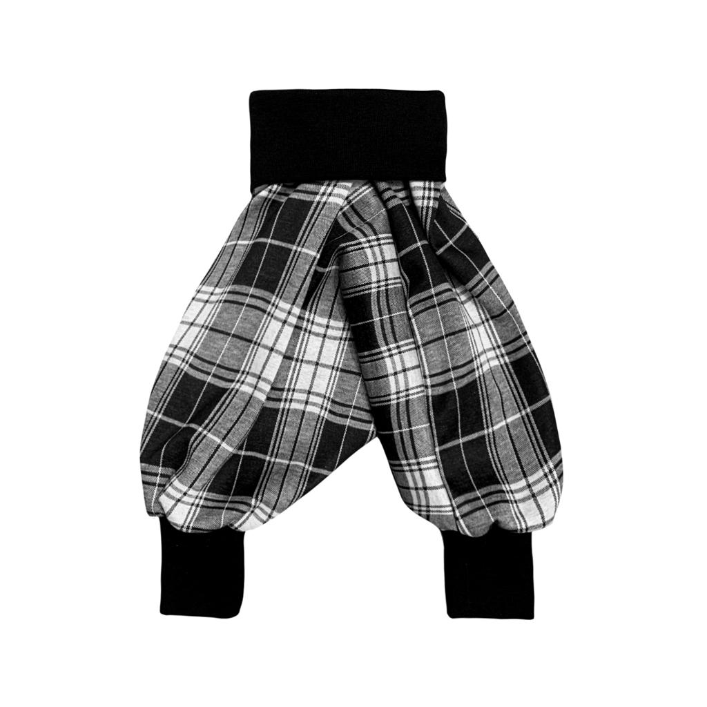 Unisex Kids Harems Pants Black & White Check | Josiah Amari