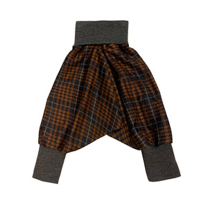 Unisex Kids Harems Pants Brown Check | Josiah Amari