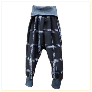 unisex kids drop crotch pants in black and white plaid print