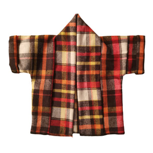 Unisex Short Sleeve Kids Kimono Orange Check | Josiah Amari