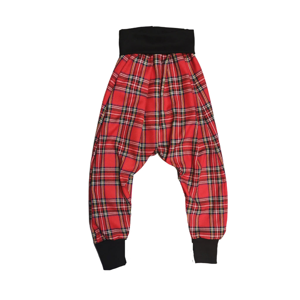 Unisex Drop Crotch Trousers Tartan Red  | Josiah Amari