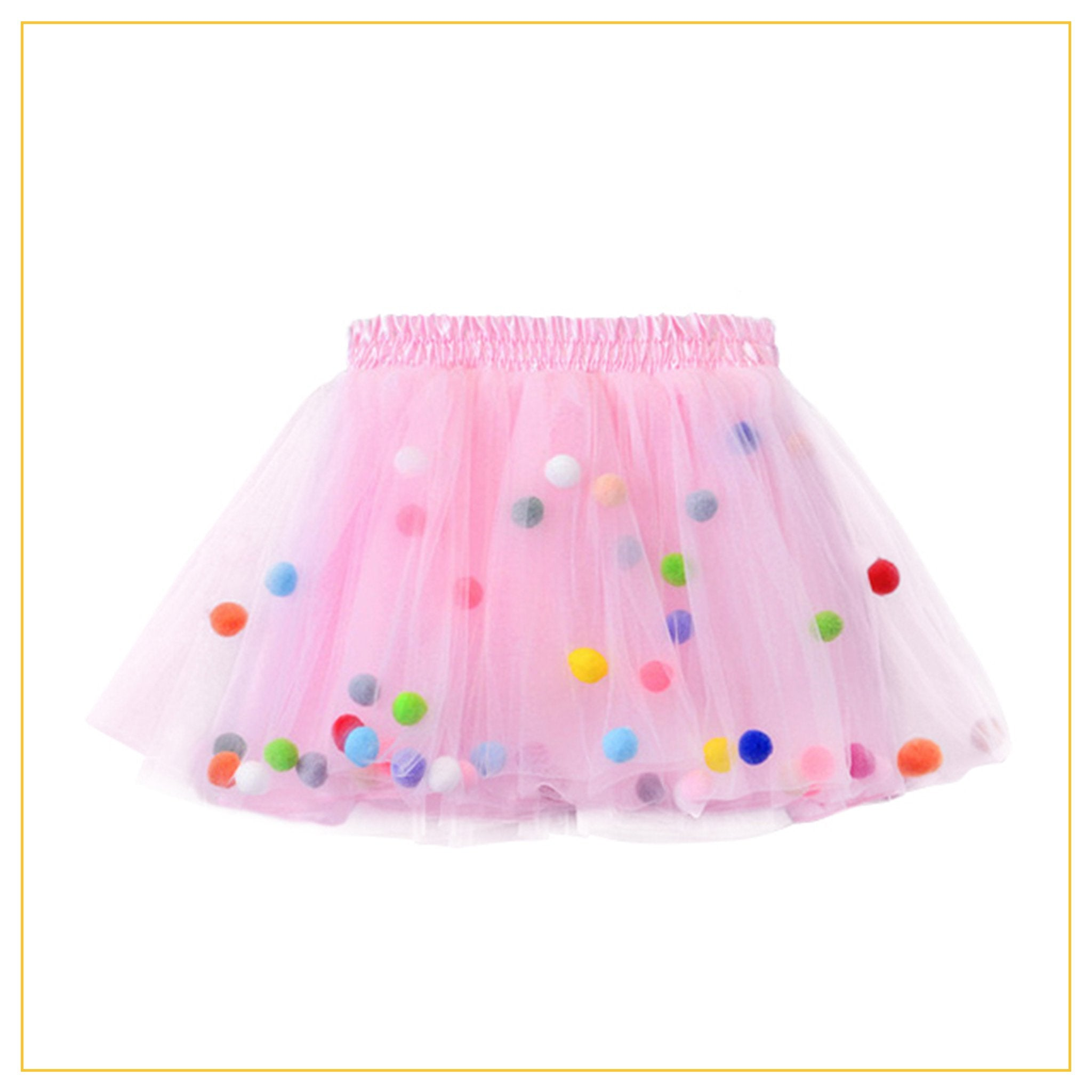 pink tulle tutu with multicoloured pompoms