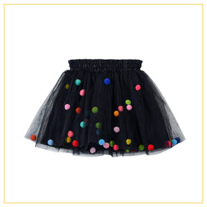 black tulle tutu with multicoloured pompoms