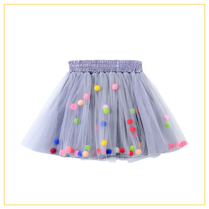 grey tulle tutu with multicoloured pompoms