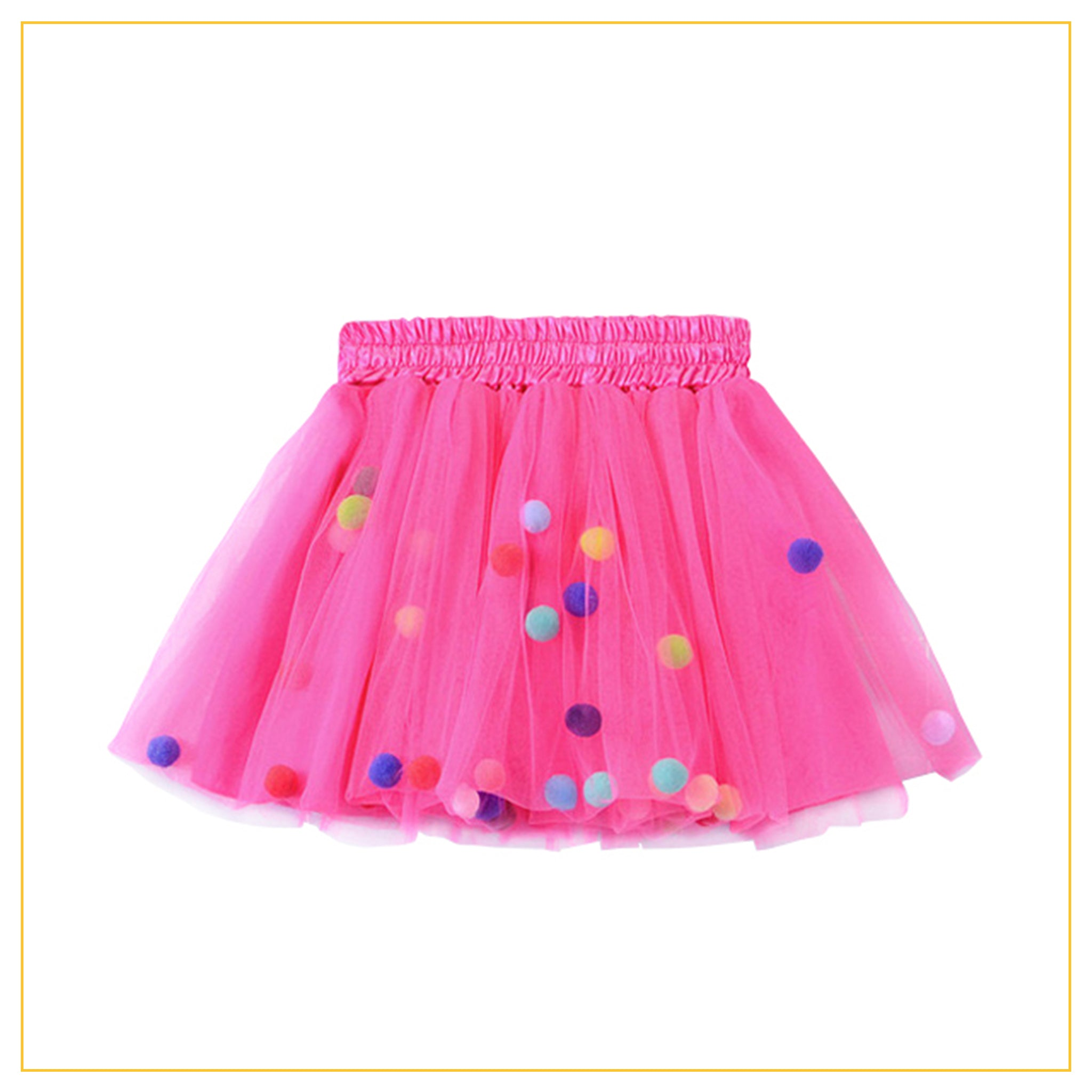 hot pink tulle tutu with multicoloured pompoms