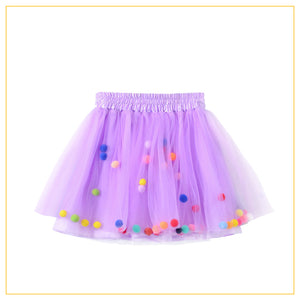 lilac tulle tutu with multicoloured pompoms