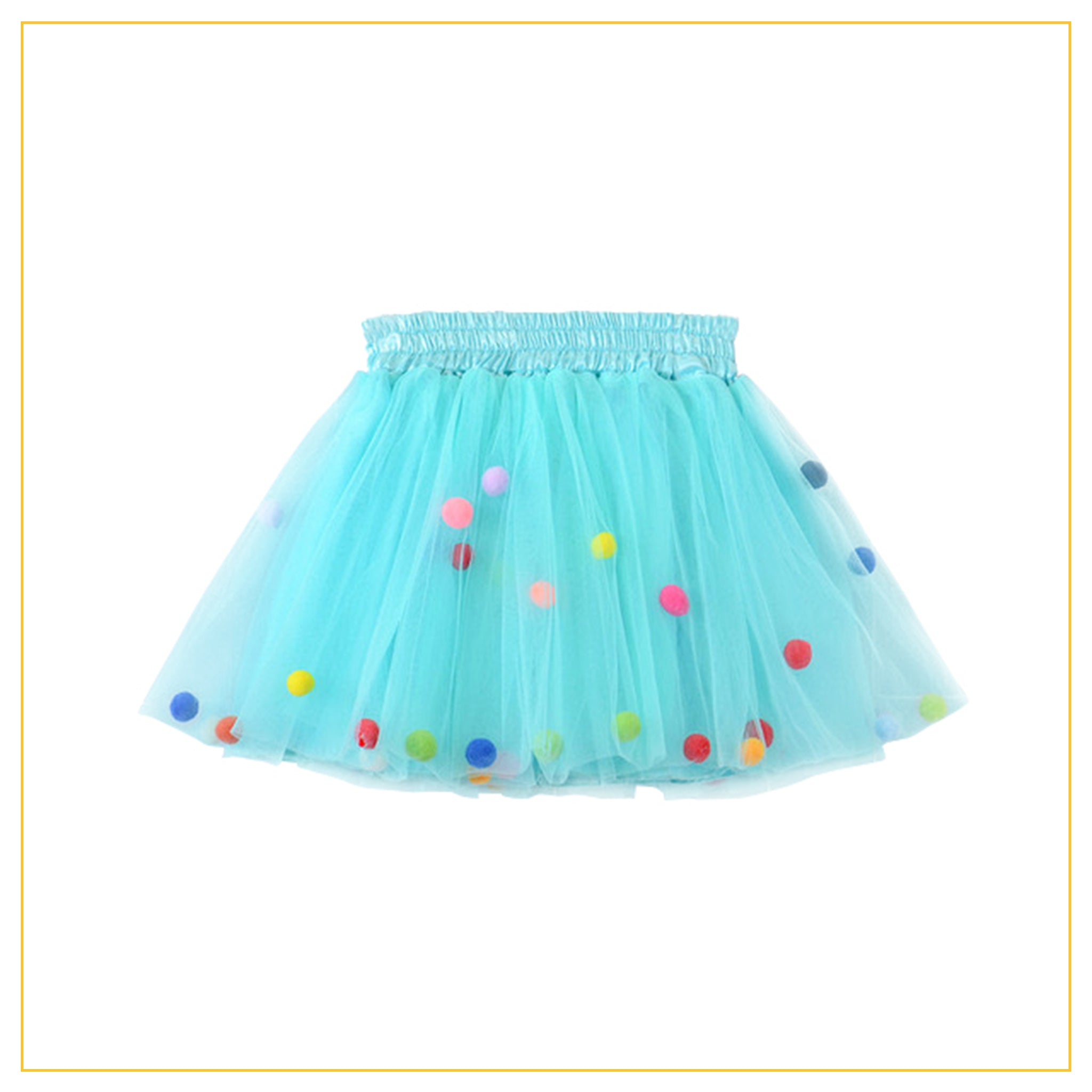 turquoise tulle tutu with multicoloured pompoms