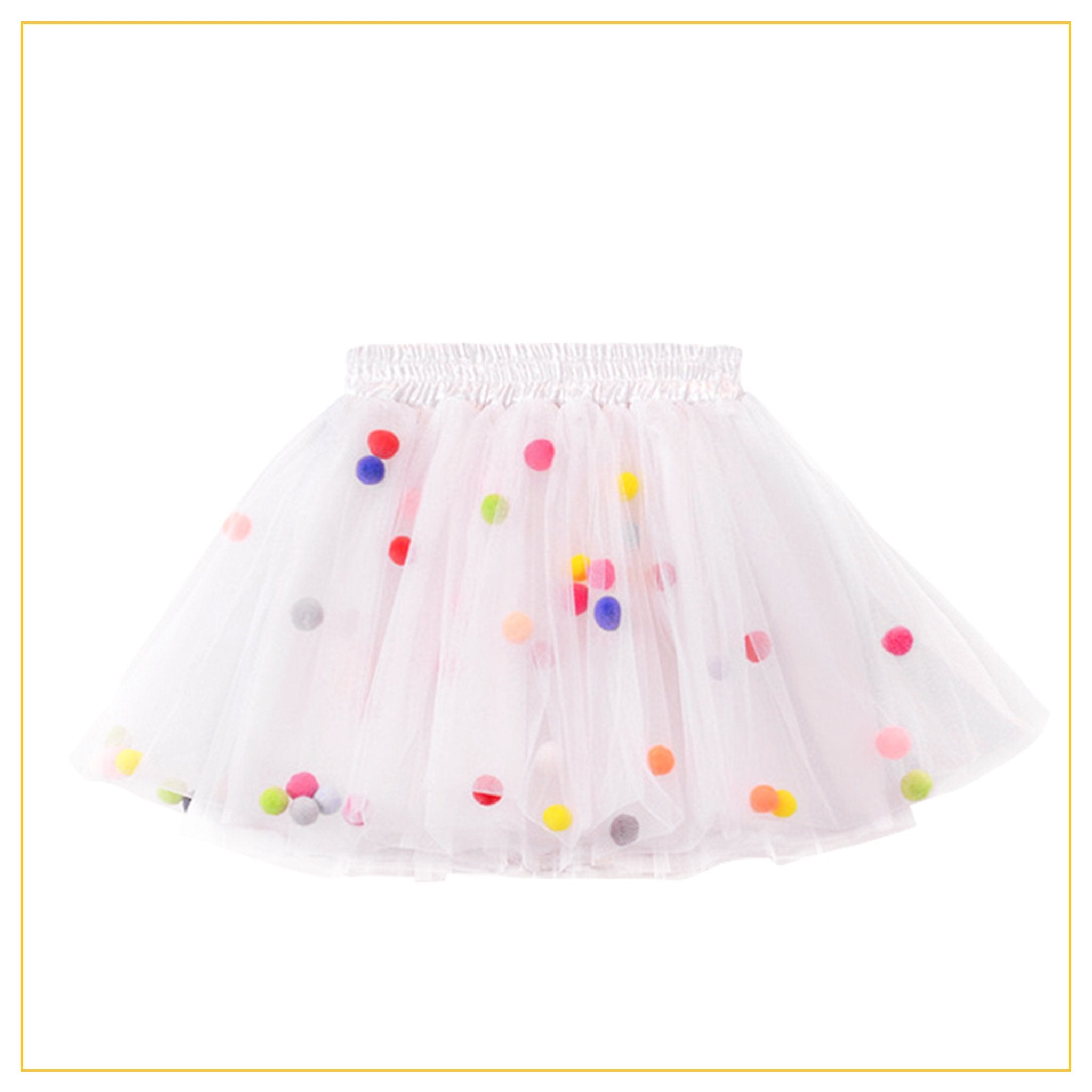 white tulle tutu with multicoloured pompoms