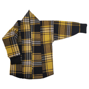 Unisex Long Sleeve Kids Kimono Yellow & Black check | Josiah Amari