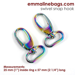 "Emmaline Swivel Snap Hook 1"" Rainbow"