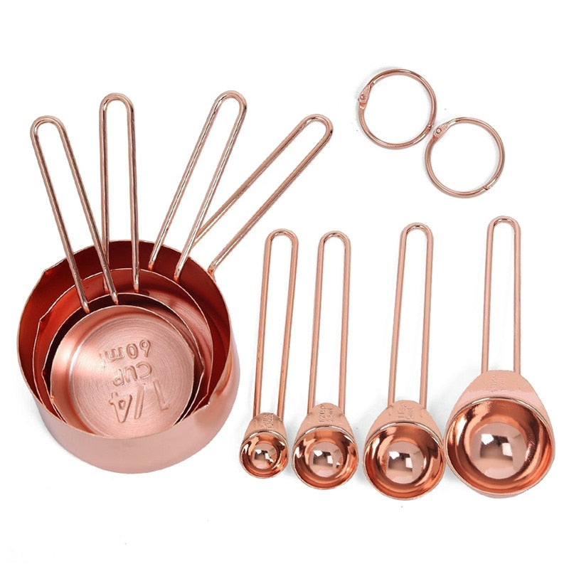 Rose Gold Stainless Steel Measuring Cups And Spoons Set Of 8