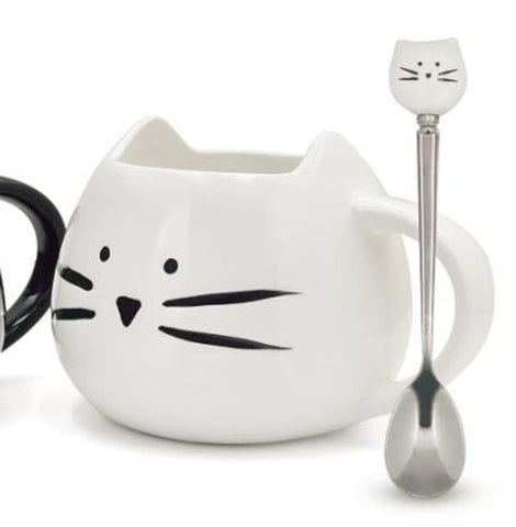 Image of Cute Cat Mugs With Spoon 14 oz