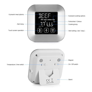 Digital Meat Thermometer with 3 Stainless Steel Temperature Probes
