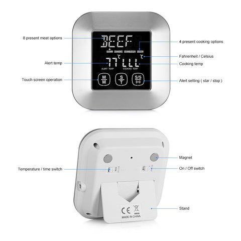 Image of Digital Meat Thermometer with 3 Stainless Steel Temperature Probes