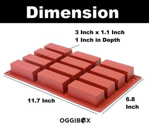 Image of Oggibox 12-Cavity Rectangle Silicone Mold