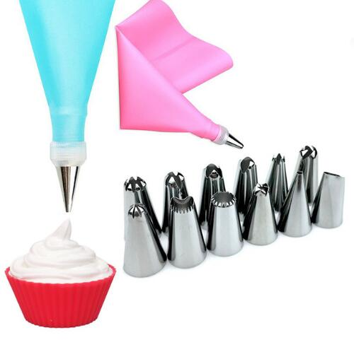 Silicone Icing Piping Cream Pastry Bag & 12 Piece Nozzle Tips