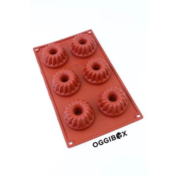 Oggibox 6-Cavity Bundt Silicone Mold for Muffin, Cheesecake, Panna Cotta