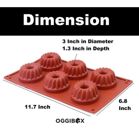 Image of Oggibox 6-Cavity Bundt Silicone Mold for Muffin, Cheesecake, Panna Cotta