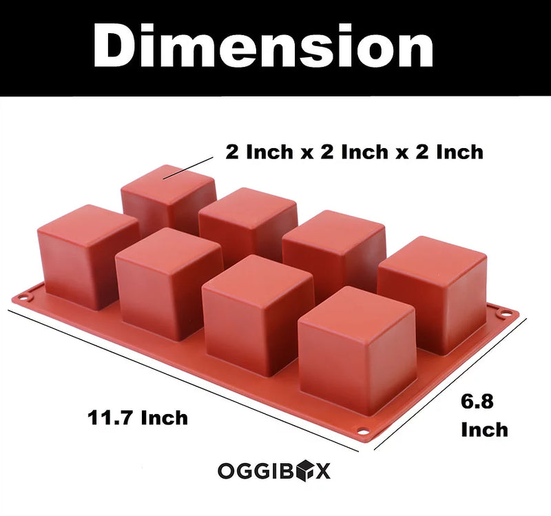 Oggibox 8-Cavity Square Cube Silicone Mold