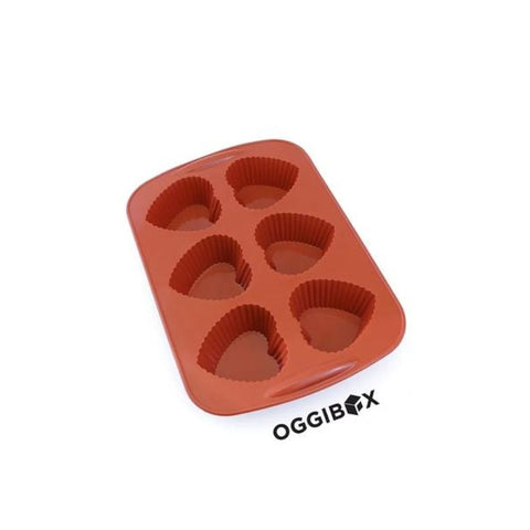 Image of Oggibox 6-Cavity Heart Shaped Muffin Silicone Mold