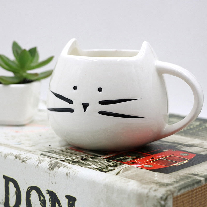 Cute Cat Mugs With Spoon 14 oz